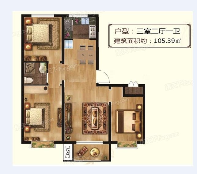 东湖印象小三居,单价7700,首付27万