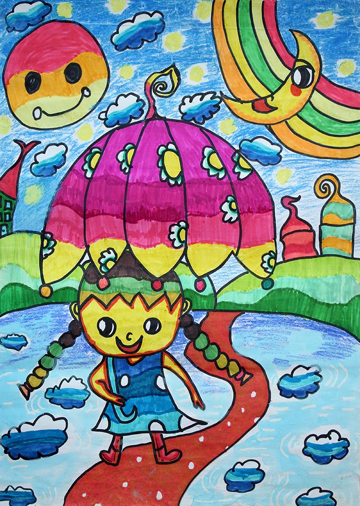 下雨风景儿童画
