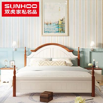 双虎家私地中海卧室家具套装板式双人床床头柜床垫组合套餐d1