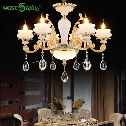 五光十色简欧式锌合金仿玉石蜡烛水晶吊灯客厅卧室豪华大气高档